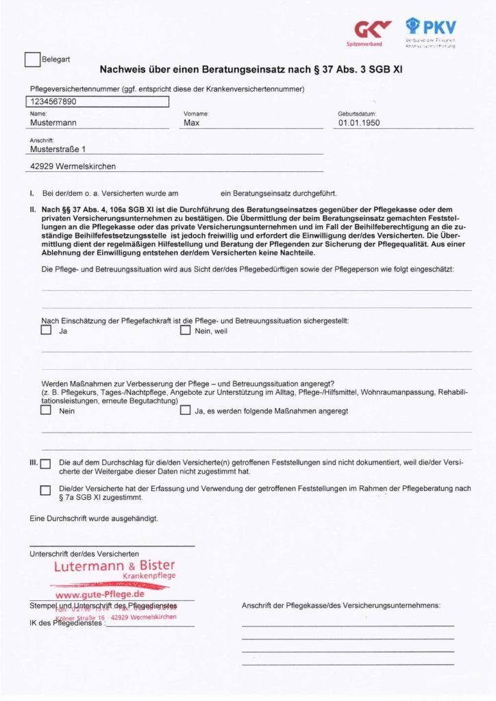 Nachweis über einen Beratungseinsatz nach § 37 Abs. 3 SGB XI